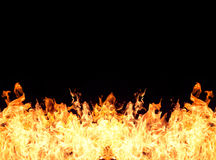 Fire flames. Flames from burning fiery patterns on black background stock illustration
