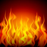 Fire flames. Burning flame or fire  on black background. Vector illustration Stock Image