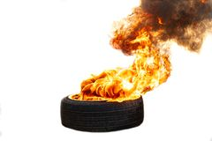 Fire flames burning tire red hot royalty free stock photography
