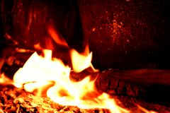 Fire and flames from burning wood royalty free stock photos