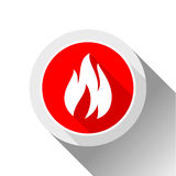 Fire flames, button. With shadow in circle shape Royalty Free Stock Photo
