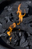 Fire flames and coal. Close-up of fire flames and coal Royalty Free Stock Photography