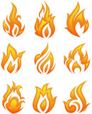 Fire flames - collage. Vector set: fire flames - collage Royalty Free Stock Photos