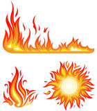 Fire flames - collage. Vector set: fire flames - collage Stock Photo