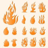 Fire flames. Collage. Vector set of different 17 fire elements Royalty Free Stock Image