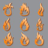 Fire flames. Collage. Vector set of different fire elements with shadows Royalty Free Stock Image