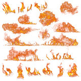 Fire flames collection. On white background Stock Photos