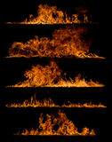 Fire flames collection. On black background Royalty Free Stock Photos