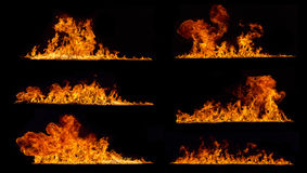 Fire flames collection on black background Royalty Free Stock Image