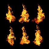 Fire flames collection isolated on black background Stock Photos