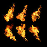 Fire flames collection isolated on black background Royalty Free Stock Image