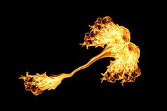 Fire flames collection isolated on black. Background Stock Photography