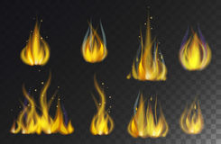 Fire flames collection isolated on black background vector. Royalty Free Stock Photo