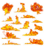 Fire flames collection on white background. Set of various kind of flames, isolated on white background. high resolution Stock Photography