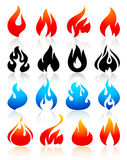 Fire flames colorful, set icons Stock Photography