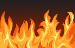 Fire flames on dark background. Fire flames in the dark, illustration royalty free illustration
