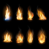 Fire flames on a dark background. Set of realistic fire flames on a dark background. . Vector EPS10 illustration Royalty Free Stock Photography