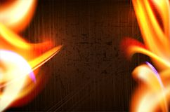 Fire flames on dark grungy background. Place for your message. Vector illustration Stock Photos