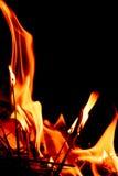 Fire flames at dark night Royalty Free Stock Photos
