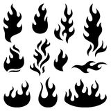 Fire flames design elements. Fire flames, set icons, design elements. Vector illustration Royalty Free Stock Photos