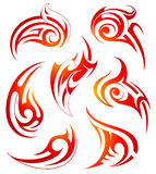 Fire flames design set. Set of fire flame ornaments  on white Royalty Free Stock Image