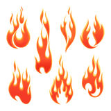 Fire flames of different shapes. On a white background Stock Photos