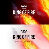 Fire Flames Effect. Realistic Fire Flames Effect on Black and White Backgrounds Stock Photo