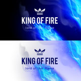 Fire Flames Effect. Realistic Blue Fire Flames Effect on Black and White Backgrounds Stock Photography