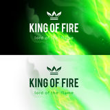 Fire Flames Effect. Realistic Green Fire Flames Effect on Black and White Backgrounds Royalty Free Stock Image