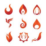 Fire Flames Element Emblem Symbol Set. Fire Flames Element Emblem Symbol Vector Illustration Graphic Design Set Royalty Free Stock Images