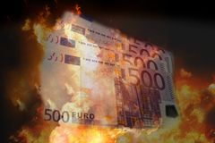 Fire flames 500 euro bills 3d rendering. Illustration Royalty Free Stock Images