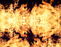 Fire flames and figures  2014. Flames from burning fiery patterns  figures  2014 Stock Image