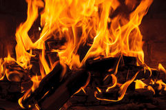 Fire flames in the fireplace. The fire flames in the fireplace Stock Photo