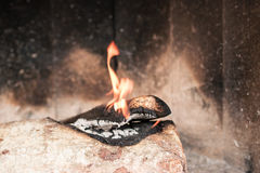 Fire flames in fireplace. Fire flames in the fireplace Royalty Free Stock Photo