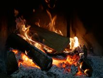 Fire and flames fireplace. Fire and flames in fireplace royalty free stock photo