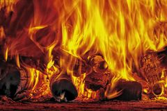 Fire and flames on firewood stock photos
