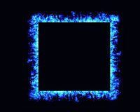 Fire flames frame on black background Stock Photo