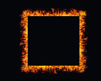 Fire flames frame on black background Royalty Free Stock Photography