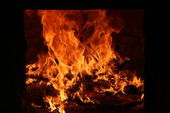 Fire, flames in the furnace stock photos