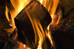 Fire flames. On home fireplace Stock Images
