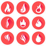 Fire flames icon set Royalty Free Stock Photography
