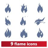Fire Flames Icons Vector Set. Simple illustration of abstract burning fire. Danger concept symbols. Isolated on white background Royalty Free Stock Photo