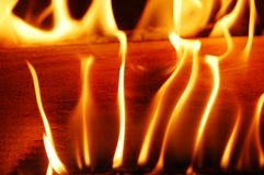 Fire flames II. A flaming and warm wood fire stock photo