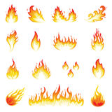 Fire Flames. Illustration of a set of fire elements and flames Royalty Free Stock Images