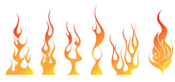 Fire flames illustrations. Different shapes of fires. clip arts can be used to your hotel or cooking advertisment Stock Image