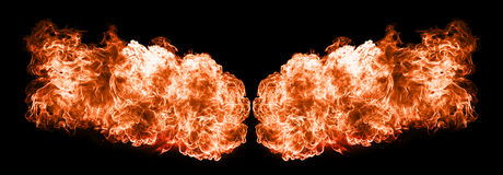 Fire flames, isolated on black background Royalty Free Stock Photography