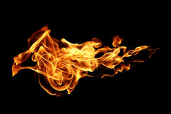 Fire flames isolated on black. Background royalty free stock photography