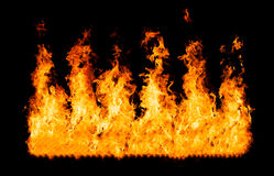 Fire flames - isolated on black background Royalty Free Stock Image