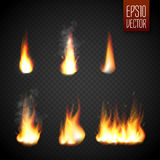 Fire flames isolated on transparent background. Vector realistic special effect Stock Photos