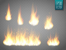 Fire flames isolated on transparent background. Vector realistic special effect Stock Image